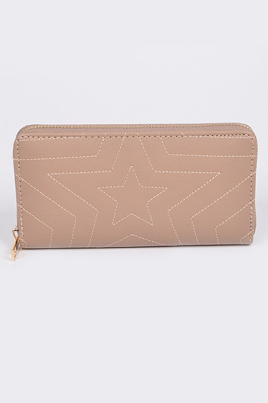 Star Gazing Tan Quilted Long Wallet