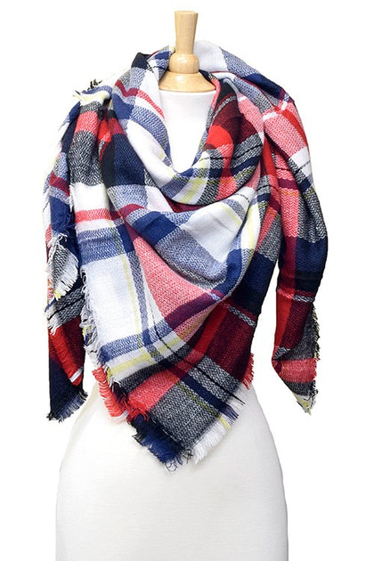 Tis The Season Plaid Multi Colored Blanket Scarf - Bella Grace Boutique