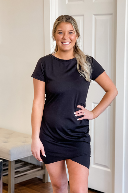 Little Black Ruched T-Shirt Dress