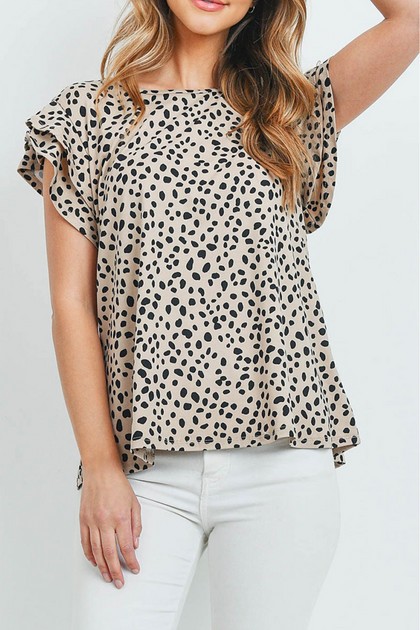 Daydreaming Beige and Black Pebble Print Blouse