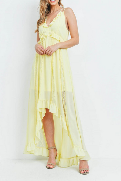 Sunset Dreams Yellow Maxi Halter Dress