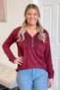 Cherry Blossoms Burgundy Long Sleeve Top