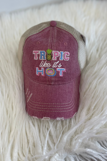 Tropic Like It's Hot Mauve Trucker Hat