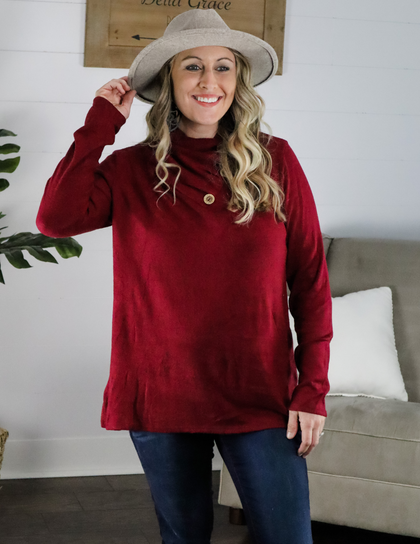 Just a Dream Gathered Neck Burgundy Top