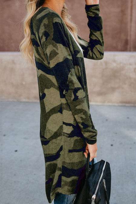 Camouflage This Green Cardigan