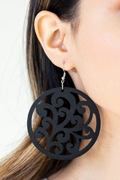 Sweet Vine Black Wooden Earrings