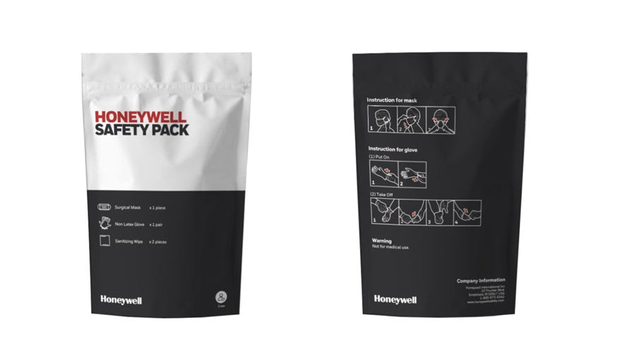 (10) Honeywell Disposable Mask Personal Protection Kits CPD01 With 1 Disposable Mask, 1 pr Non-Latex Gloves And 2 Sanitizing Wipes each