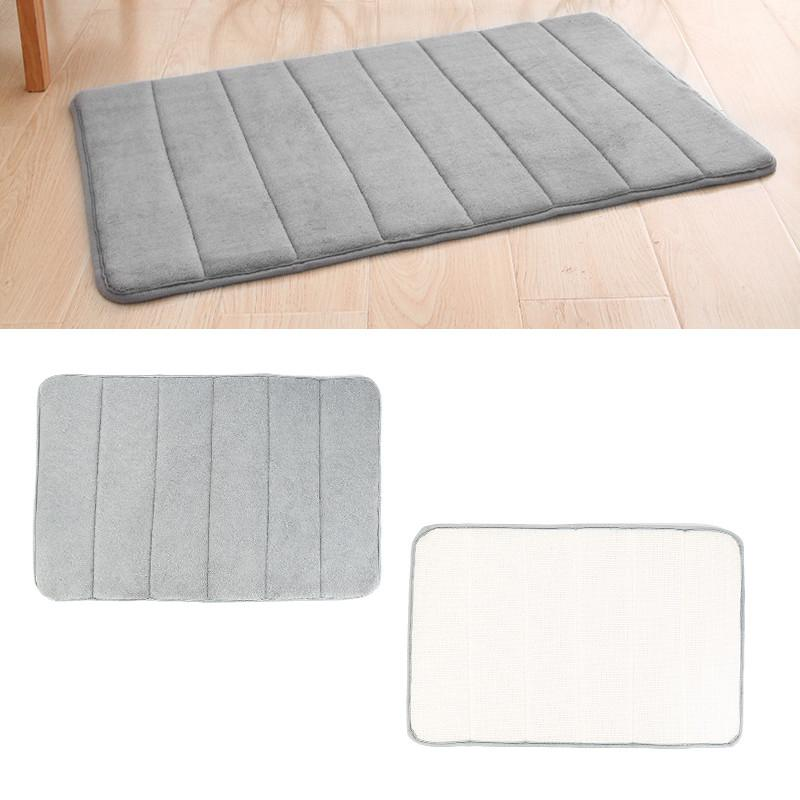 NEW 40x60cm Home Bath Mat Non-slip Bathroom Carpet Soft Coral Fleece Memory Foam Rug Mat Kitchen Toilet Floor Decor Washable - ObeyKart