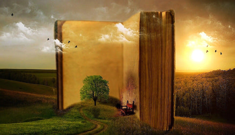 An illustration of a large book and a tree