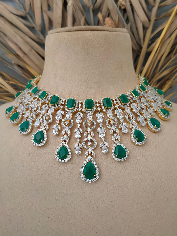 Green Gold Plated Diamond Necklace Set