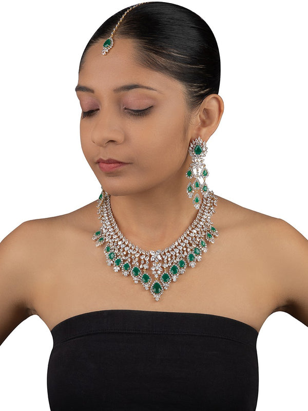 Emerald Diamond Necklace Set - Mortantra