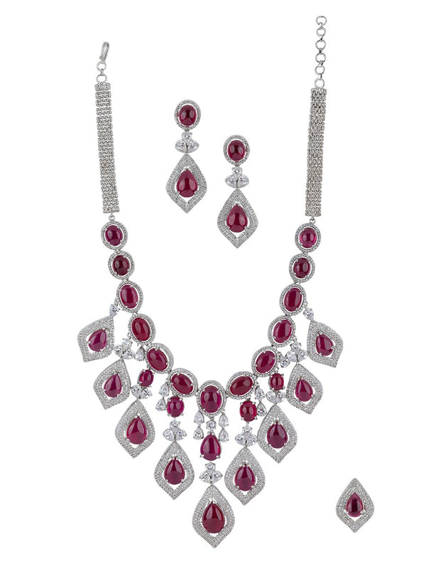 Maroon Silver Plated Diamond Necklace Set