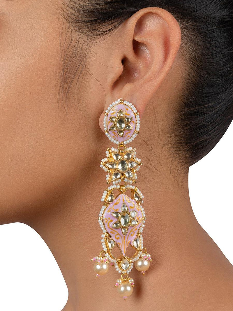 Baby Pink Meenakari Jadau Gold Plated Base Metal Danglers - Mortantra