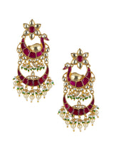 Peacock Chand Double Layer Jadau Kundan Earrings