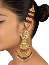 White Maroon Double Chand Gold Plated Base Metal Sahara Jadau Earrings - Mortantra