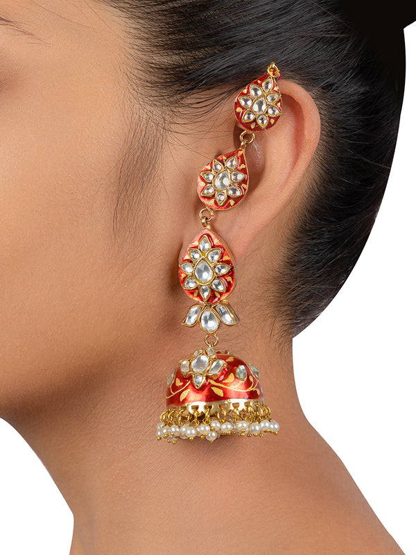 Red Enamel Pearl Drop Gold Plated Base Metal Jadau Jhumkis with Saharas - Mortantra