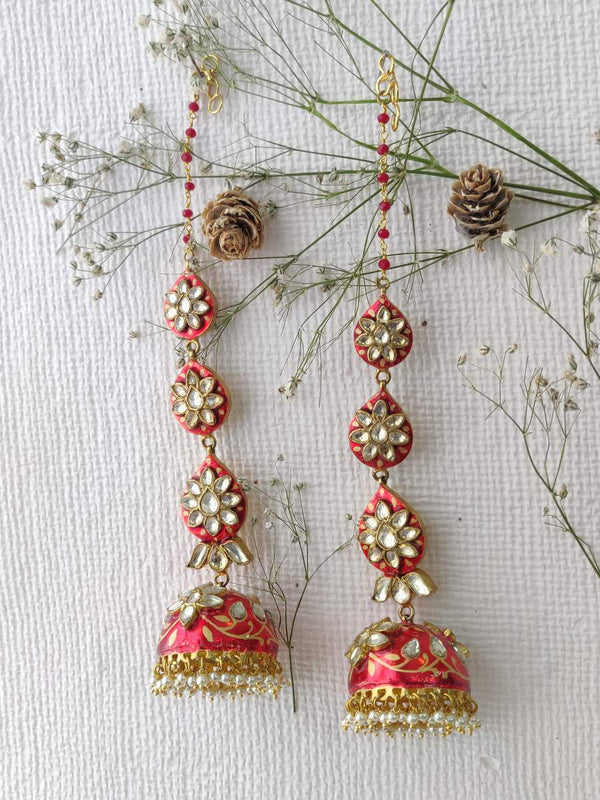 Red Enamel Pearl Drop Gold Plated Jadau Jhumkis with Saharas