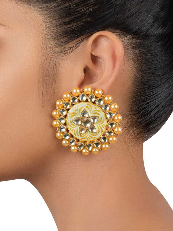 Beige Meenakari Embossed Jadau Gold Plated Base Metal Studs - Mortantra