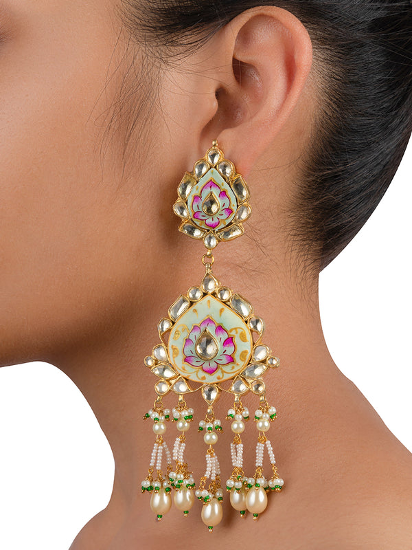 White Pink Meenakari Jadau Tassel Drops Gold Plated Base Metal Danglers - Mortantra
