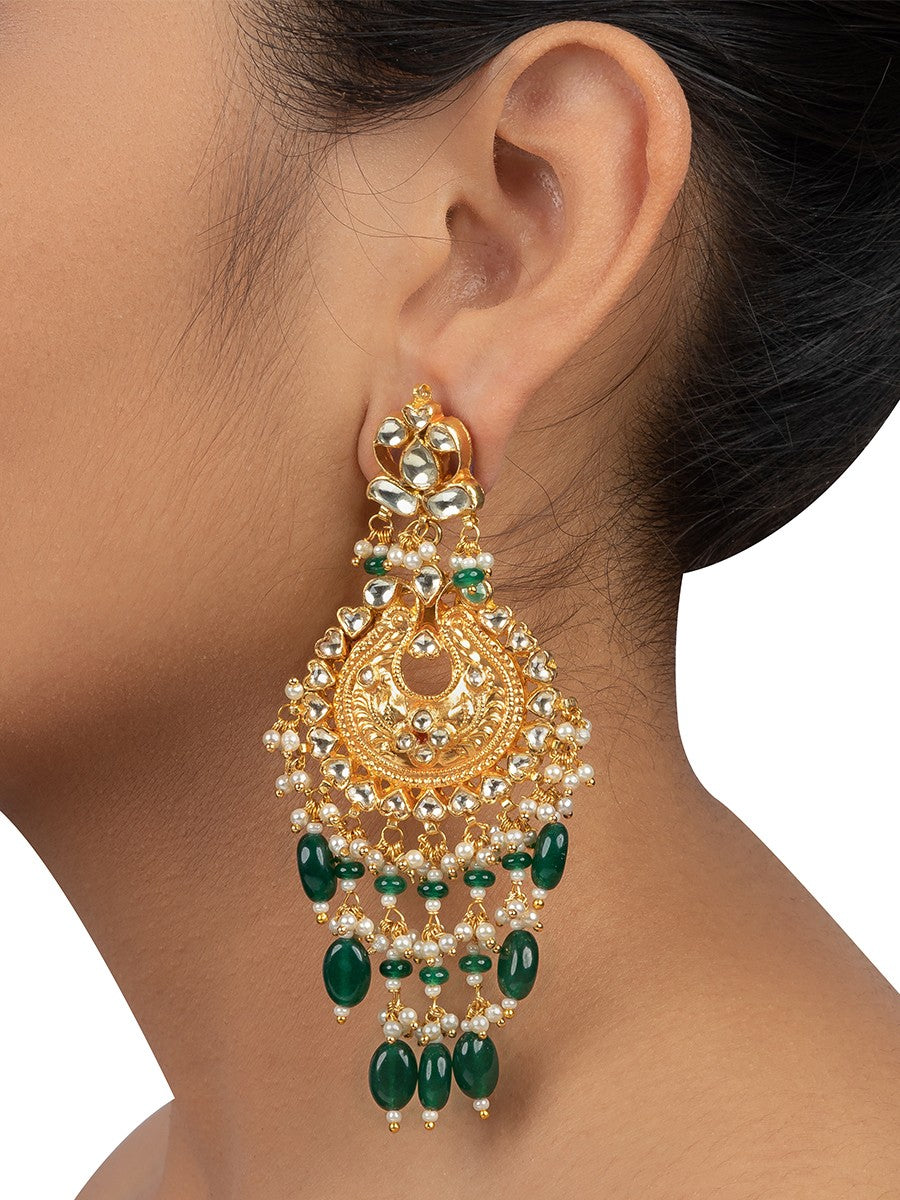 Nakshi Gold Chandbali Earrings with Green Drops