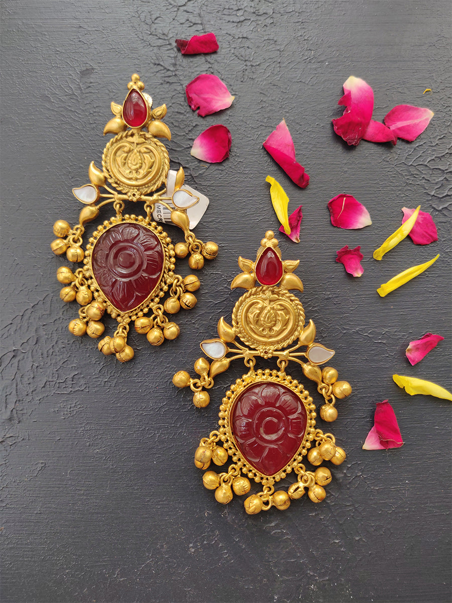Navratri Collection Gold Finish Earrings