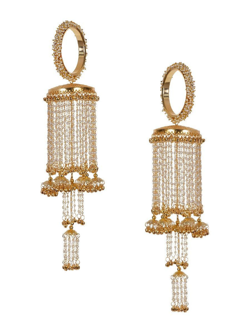 Clustered Pearl Bangles Multiple Jhumkis Pearl Strings Gold Plated Kaleere