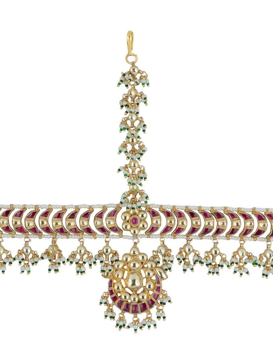 Chand Shape Pearl Broder Surrounded Pink Jadau Mathapatti