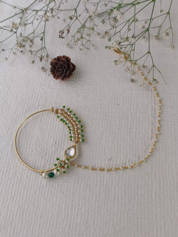 Green Pearl work Jadau Gold Plated Nose Ring