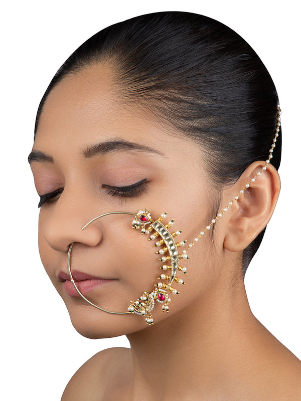 Pink White Crecent Jadau Gold Plated Base Metal Statement Nose ring - Mortantra