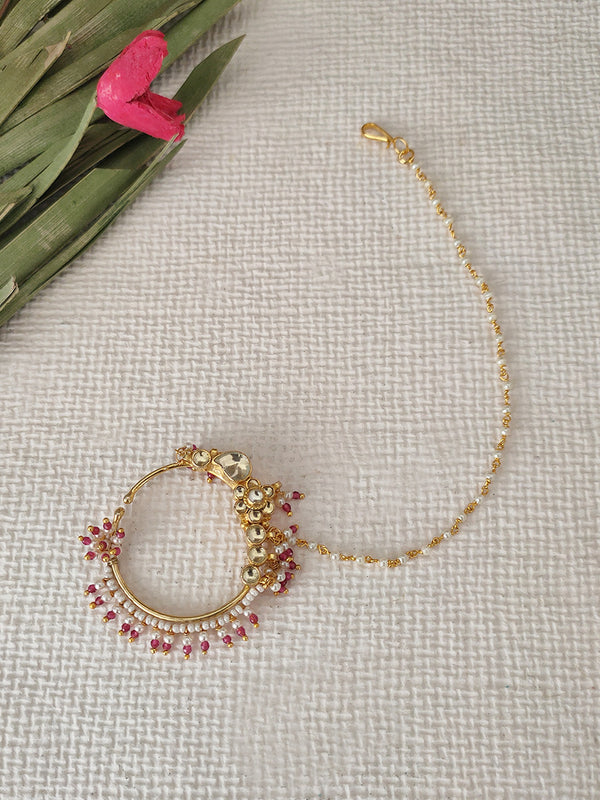 Flower Pearl Work Gold Plated Jadau Nosering