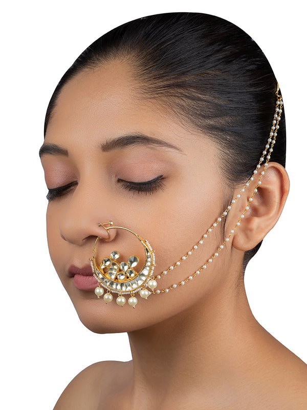 White Peacock Crecent Pearl Drop Jadau Gold Plated Base Metal Nose Ring - Mortantra