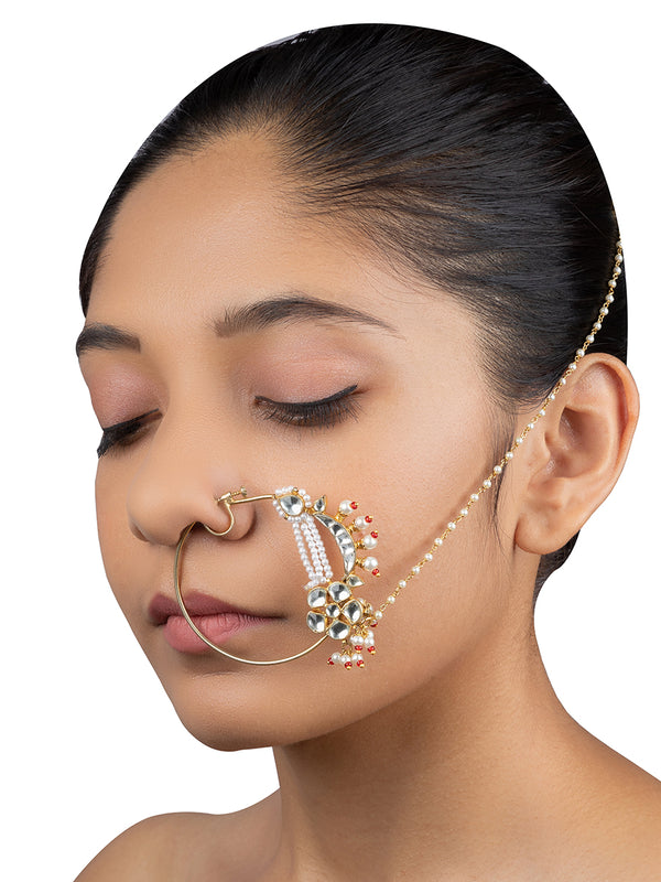 White Crecent Floral Jadau Gold Plated Base Metal Nose Ring - Mortantra