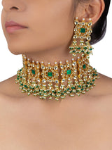 White Green Square Intricate Jadau Gold Plated Choker with Studs