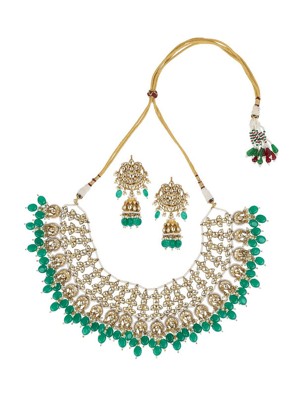 Yellow Jadau Set With Emerald Hanging