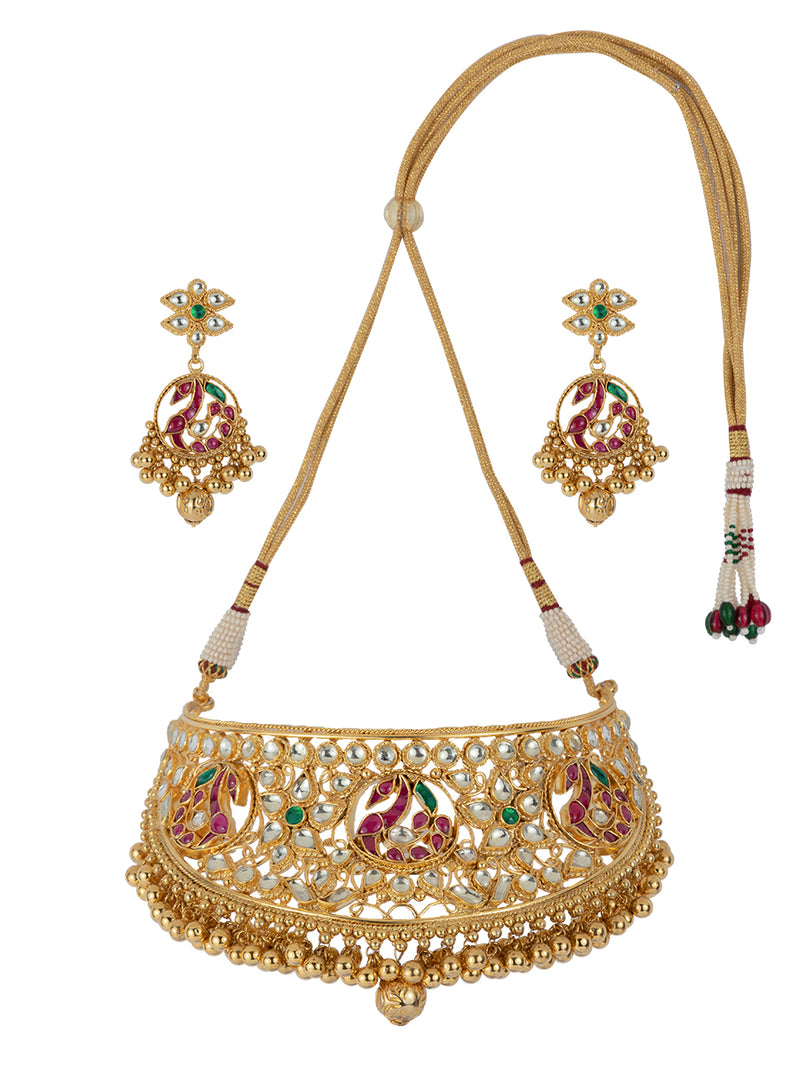 Pink Peacock Motif Antique Golden Jadau gold Plated Choker with Chandbali Earrings