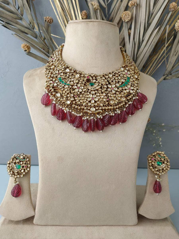 Multi Color Intricate Stone Embedded Kundan Necklace Set