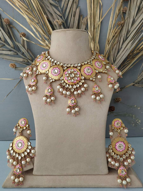 Pastel Meena Enamelled Jadau Necklace Set