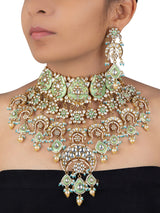 Firozi Meenakari Statement Jadau Gold Plated Necklace with Dangler Earrings