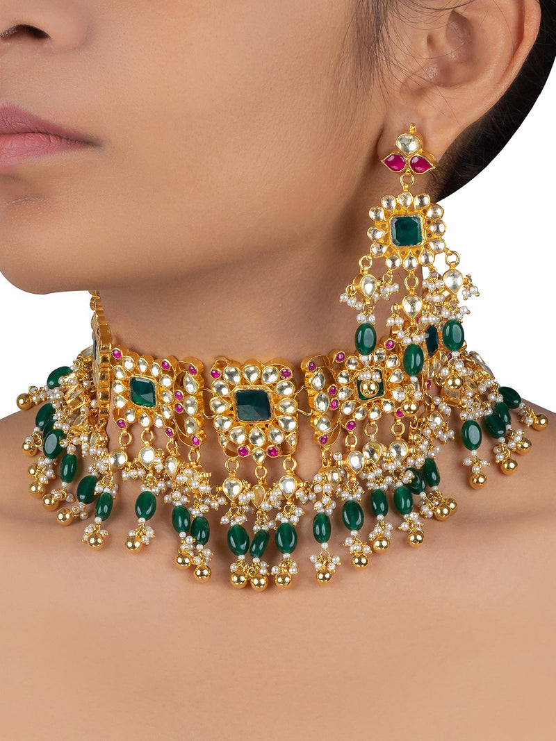 Green-Pink Square Motif Jadau Gold Plated Choker Set with Dangler Earrings