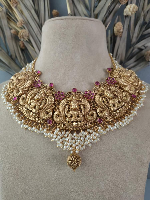 Carved Lakshmi Jadau Gold Plated Temple Necklace set with Jhumki earrings