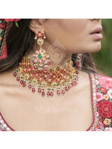 Pink Green Gold Plated Jadau Statement Necklace Set