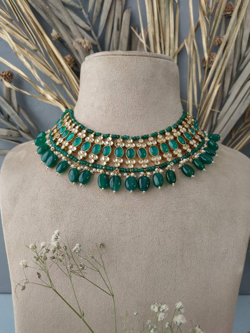 Yellow Green Jadau Exquisite Necklace Set