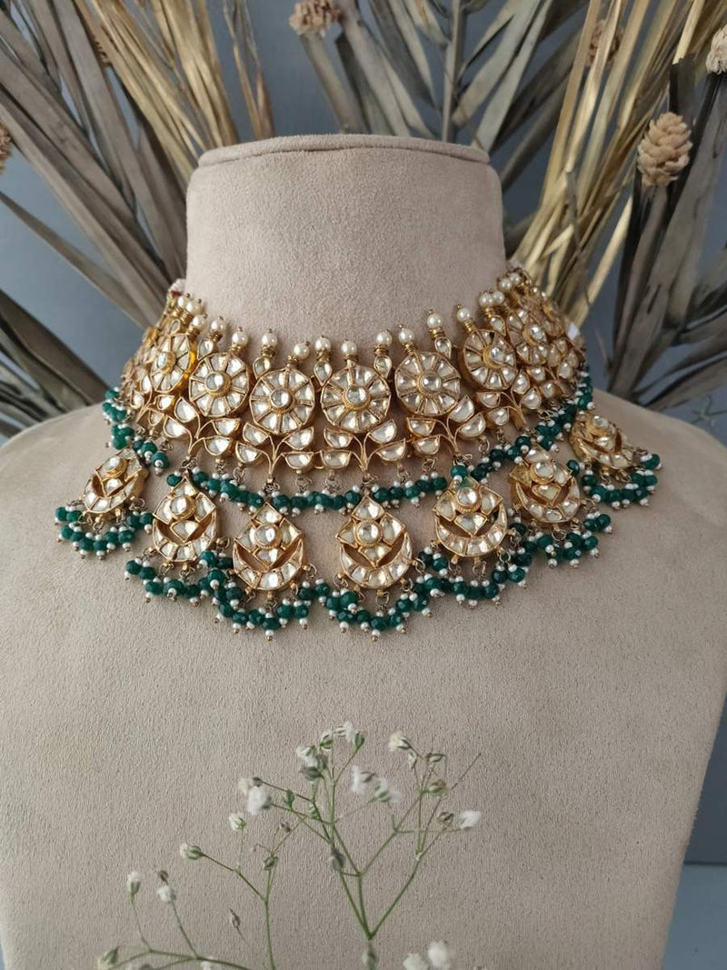 White Floral Motif Green drops Jadau Gold Plated Choker set with chandbali earrings