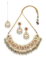 Pink-Green Filigree inspired Intricate Jadau Gold Plated Necklace Set with Chandbali and Tikka