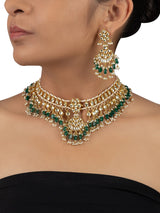 Yellow Double Layered Jadau Necklace Set