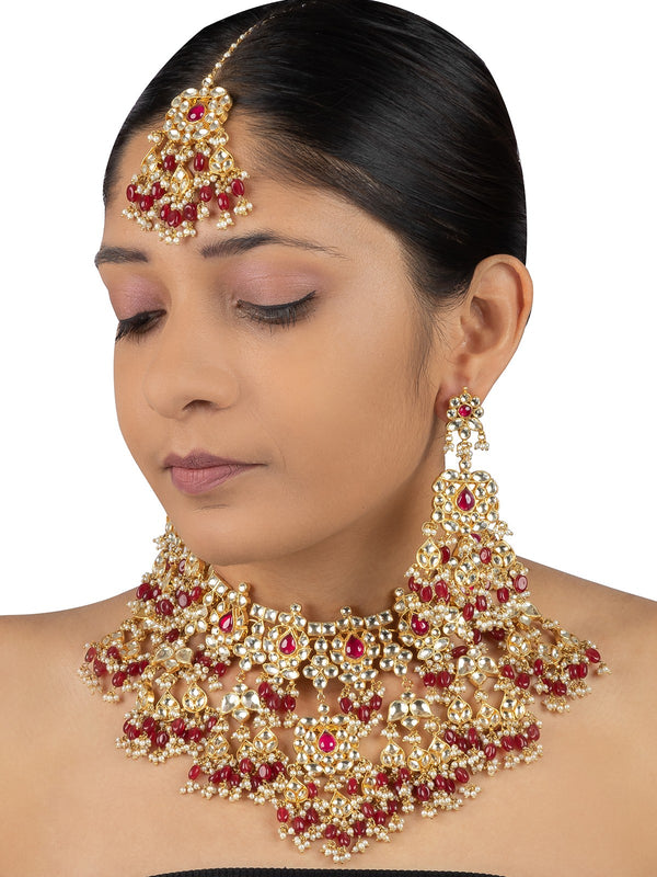Yellow Jadau Gold Plated Bridal Necklace Set