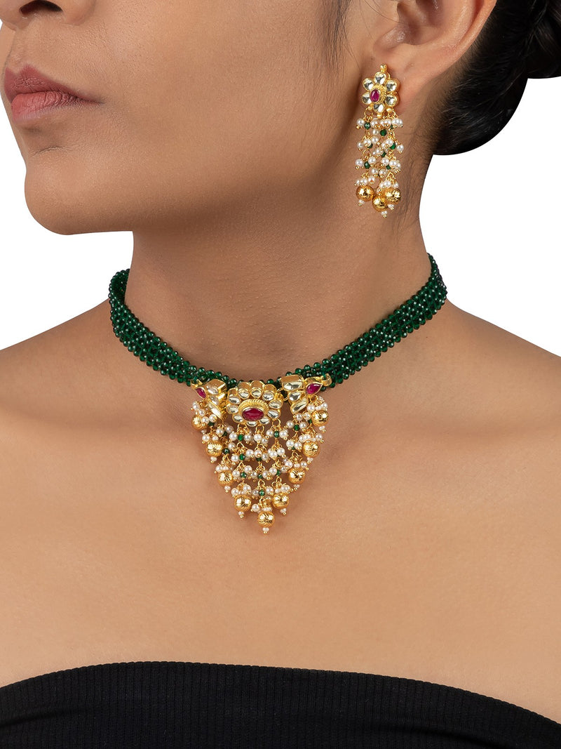 Multi Color Gold Plated Jadau Necklace Set With Green Gunthani Patta Belt