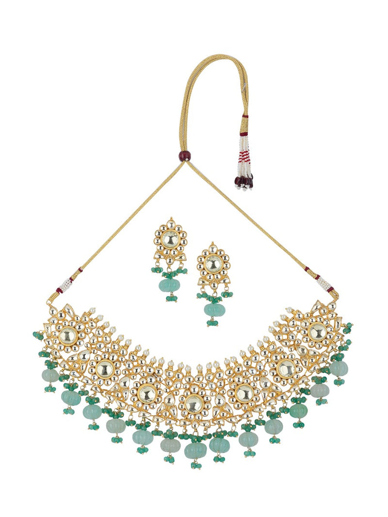 Yellow Gold Plated Jadau Necklace Set With Muskmelon Beads