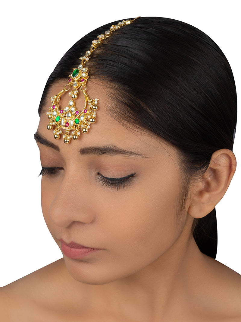 Pink Green Chand Flower Rawa Drops Jadau Gold Plated Maang Tikka - Mortantra