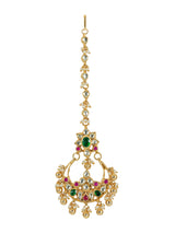 Pink Green Chand Flower Rawa Drops Jadau Gold Plated Maang Tikka